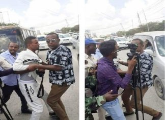 Somali Journalists Syndicate (SJS) condemns the beating, harassment meant to silence and unlawful detention against two TV journalists in Hargeisa on Sunday 10 November, 2019.